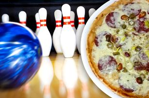 Hodina bowlingu až pro 6 hráčů a 2 pizzy z pece