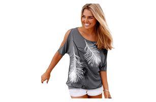 Dámské tričko s odhalenými rameny a peříčky - dodání do 2 dnů