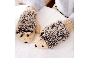 Dámské rukavice v podobě ježečka - dodání do 2 dnů