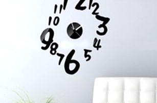 3D nástěnné hodiny se samolepkou na zeď - černá - dodání do 2 dnů