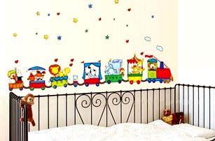 Samolepka na zeď - veselý vláček se zvířátky