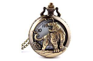 Retro kapesní hodinky s motivem tygra - dodání do 2 dnů
