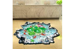 3D samolepka na podlahu - Jezírko s rybkami - dodání do 2 dnů