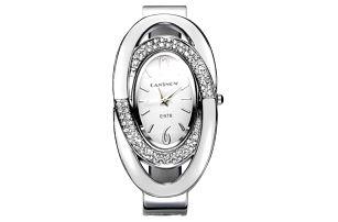 Dámské kovové hodinky s oválným ciferníkem a kamínky - dodání do 2 dnů