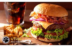 Dva mega burgery + 200 g hranolků a česnekový dip v hospůdce U Fíčků v Praze