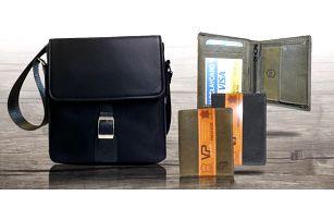 Elegantní set pánské tašky a kožené peněženky