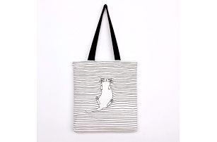 Dámská taška přes rameno s kočičkou a proužky