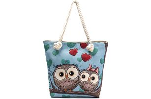 Fashion Icon taška Valentine's Day se sovičkami lněná