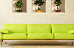 Sada 3 samolepek Ambiance s 3D efektem Ambiance Bonsai Trees