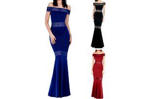 Dlouhé šaty s průsvitnými proužky Queen