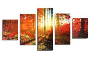 Podzimní les - soubor pěti obrazů