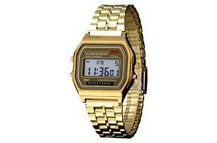Retro digitální hodinky - zlatá barva - dodání do 2 dnů