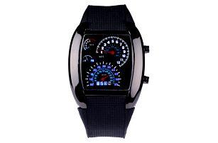 Pánské LED hodinky ve tvaru palubní desky - 2 barvy