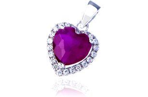 Fashion Icon Přívěšek stříbro srdce rudý krystal