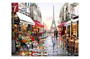 Malování podle čísel na plátno - sada s motivem pařížské ulice