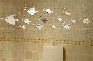 Zrcadlová dekorace do koupelny - Hejno rybiček