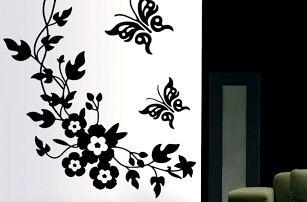 Samolepka na zeď - Černé květiny s motýly