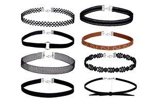 Sada originálních choker náhrdelníků se zapínáním - 8 kusů
