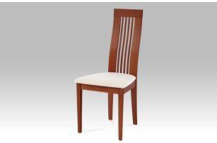 Jídelní židle BC-2411 TR3, masiv buk, moření třešeň,potah krémový