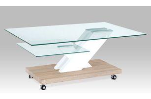 Konferenční stolek AHG-110 SON, čiré sklo/vys lesk bílý/sonoma
