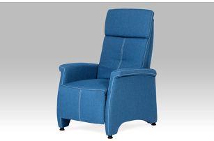 """Relaxační křeslo, látka """"jeans"""" s bílým prošitím TV-8135 BLUE2"""