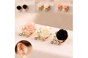 Dámské náušnice s růží a perlou - 1 pár