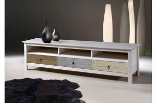 Bílý TV stolek z borovicového dřeva SOB Irelia - doprava zdarma!