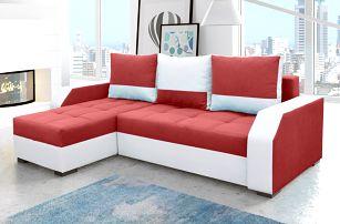 Rohová sedačka ARIS 02, červená látka/bílá ekokůže