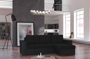 Rohová sedačka NEWARK 11, černá látka/černá ekokůže