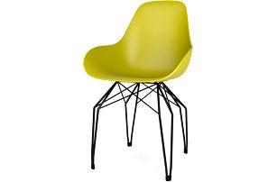 Žlutá židle s černým podnožím Kubikoff Diamond
