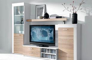 RITTA, obývací stěna, bílá/sonoma