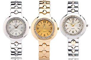 Dámské módní hodinky s kulatým ciferníkem zdobeným zářivými kamínky - 3 barvy