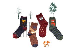 Dívčí ponožky s liškou - 12 variant