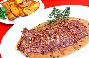 Ve dvou na maso: Hovězí flank steak s přílohou