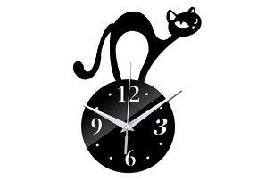Nástěnné hodiny z akrylu s nahrbenou kočičkou - 3 barvy