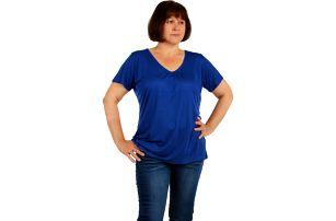 Jednobarevné tričko nadměrná velikost modrá