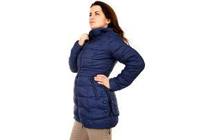 Prošívaná zimní bunda s ozdobnými patenty šedá