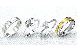 Nádherné ocelové prsteny na dámskou ručku