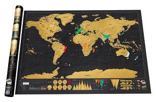 Škrabací mapa světa - 82 x 59 cm