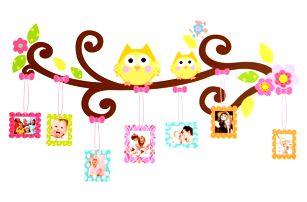Dětská samolepka na zeď 110 x 60 cm - Sovičky na větvičce s rámečky na fotografie
