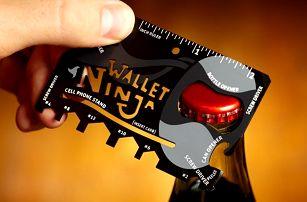 Multifunkční karta Wallet Ninja jako nářadí 18 v 1