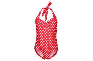 Dívčí jednodílné retro plavky s puntíky