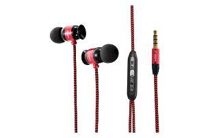 Špuntová sluchátka s výraznými basy a pleteným kabelem