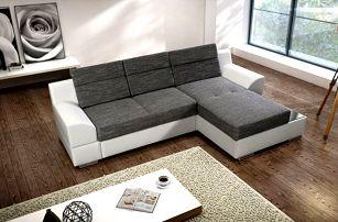 Rohová sedací souprava Tiscali pravý roh (látka/eko,šedá,bílá)