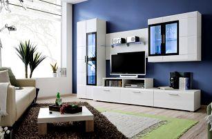 Obývací stěna KRONE II, bílá matná/bílý a černý lesk