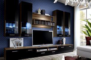 Obývací stěna DORADE, švestka/černý lesk