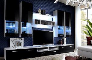 Obývací stěna DORADE, bílá matná/černý lesk