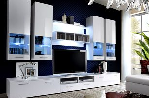 Obývací stěna DORADE, bílá matná/bílý lesk