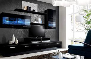 Obývací stěna LOGO II, černá matná/černý lesk