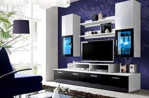 Obývací stěna MINI, bílá matná/bílý a černý lesk